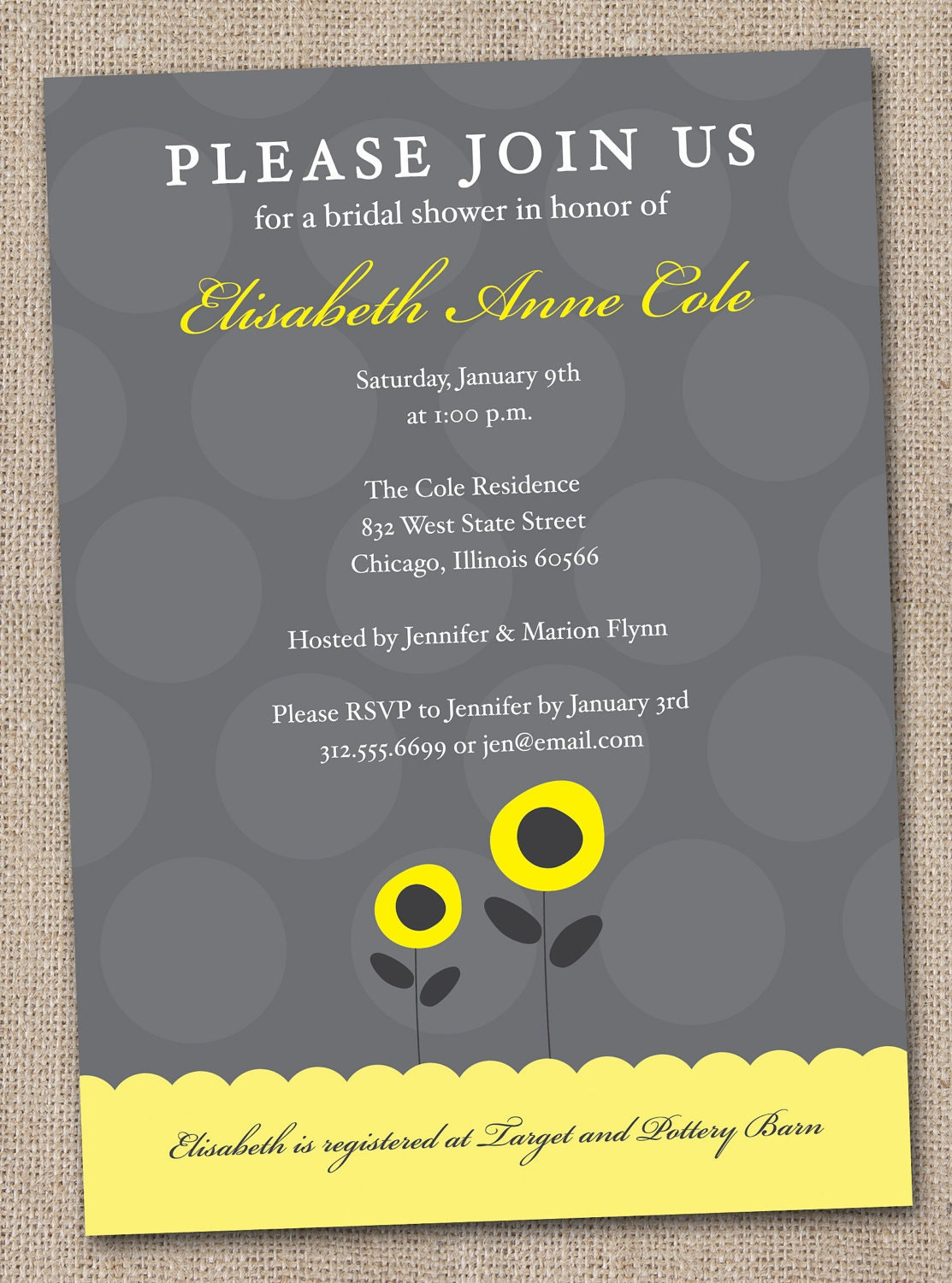 Printable Bridal Shower Invitations Grey and Yellow Poppy Flowers and Polka