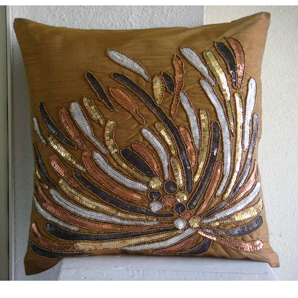 The HomeCentric Cracker  - 18x18 inches Square Decorative Throw Gold Silk Pillow Covers Embellished with Beads & Sequins at Sears.com