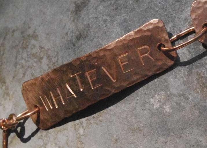 Hammered copper TEXT U bracelet