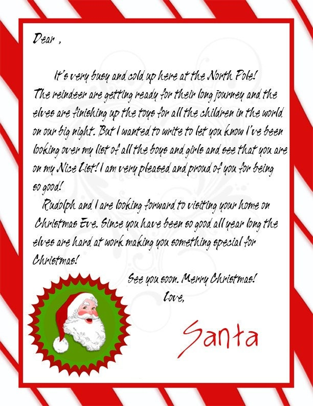 Items similar to letter from santa and nice list for Nice list santa letter