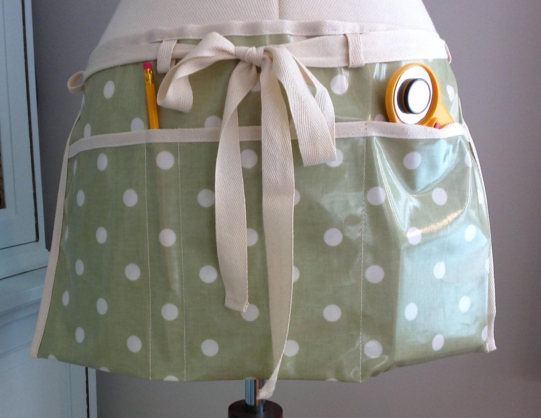Gardeners apron gardening apron garden oilcloth apron wipe clean apron craft apron utility apron half waist apron traditional apron