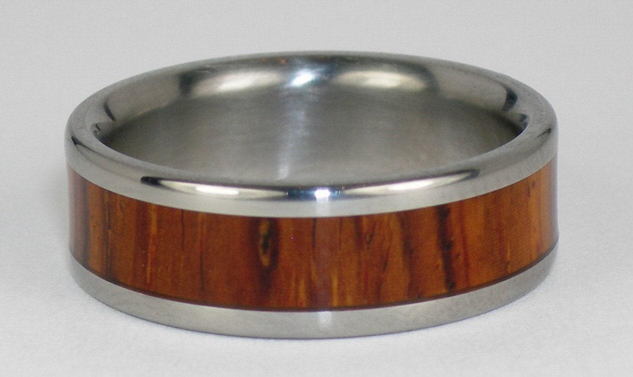Hawaii Titanium Ring Style W1F Cocobolo Wood inlayed Titanium Ring