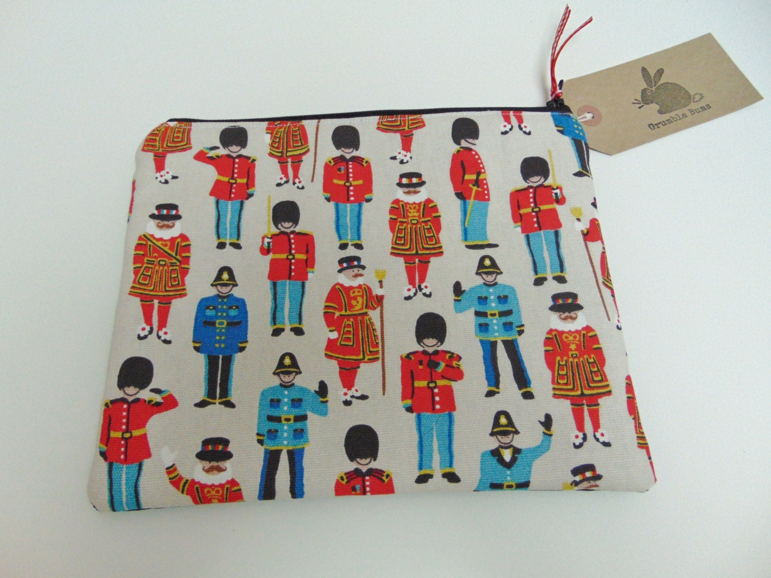 Handmade Makeup Bag Cath Kidston London Guards Police Beefeater Theme Fabric