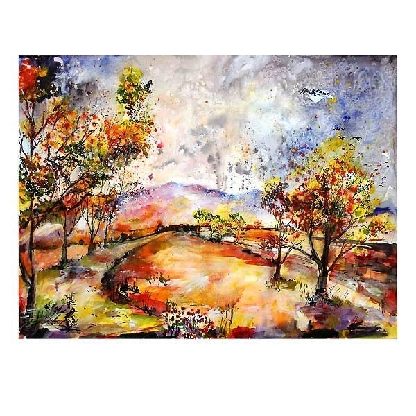 REDUCED - Autumn Rain In Georgia - Original Watercolor and Ink by Ginette