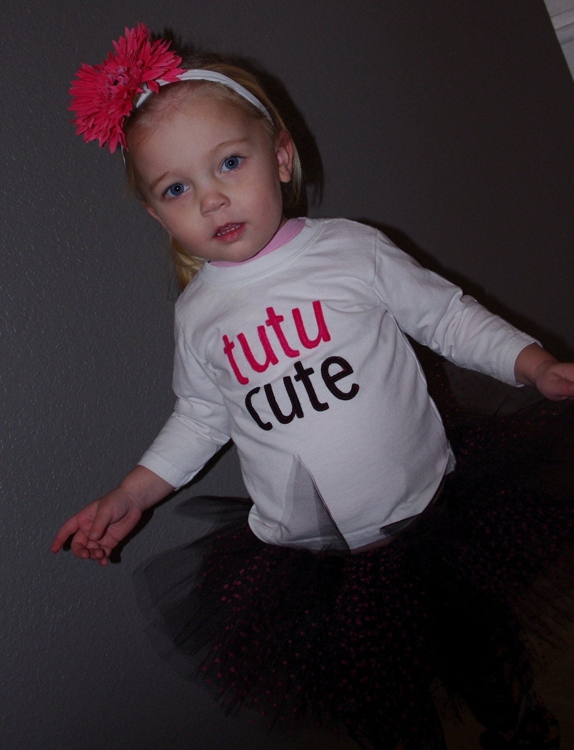 Toddler Girl tutu cute shirt in hot pink and black