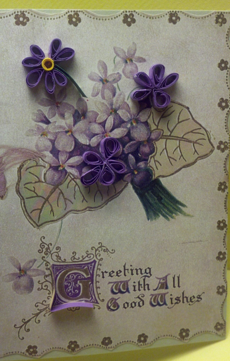 Greeting Card Quilled Violet Posey Purple Green Victorian Scrapbook