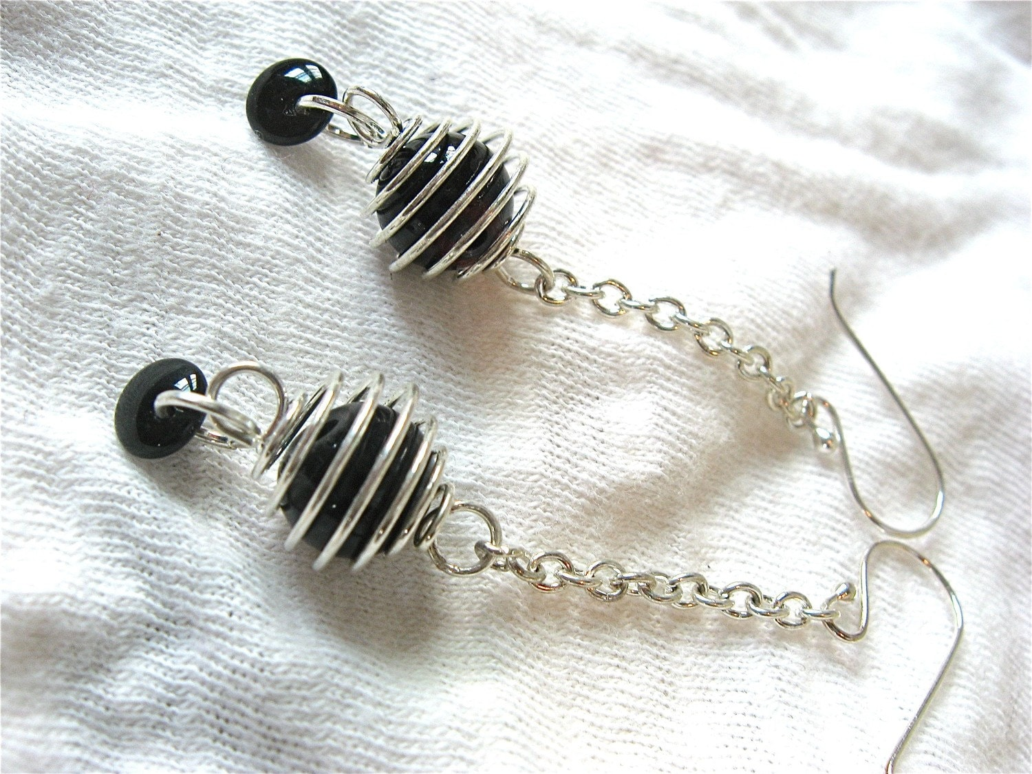 Ebony Swirl Earrings, Black and Silver Glass Beaded