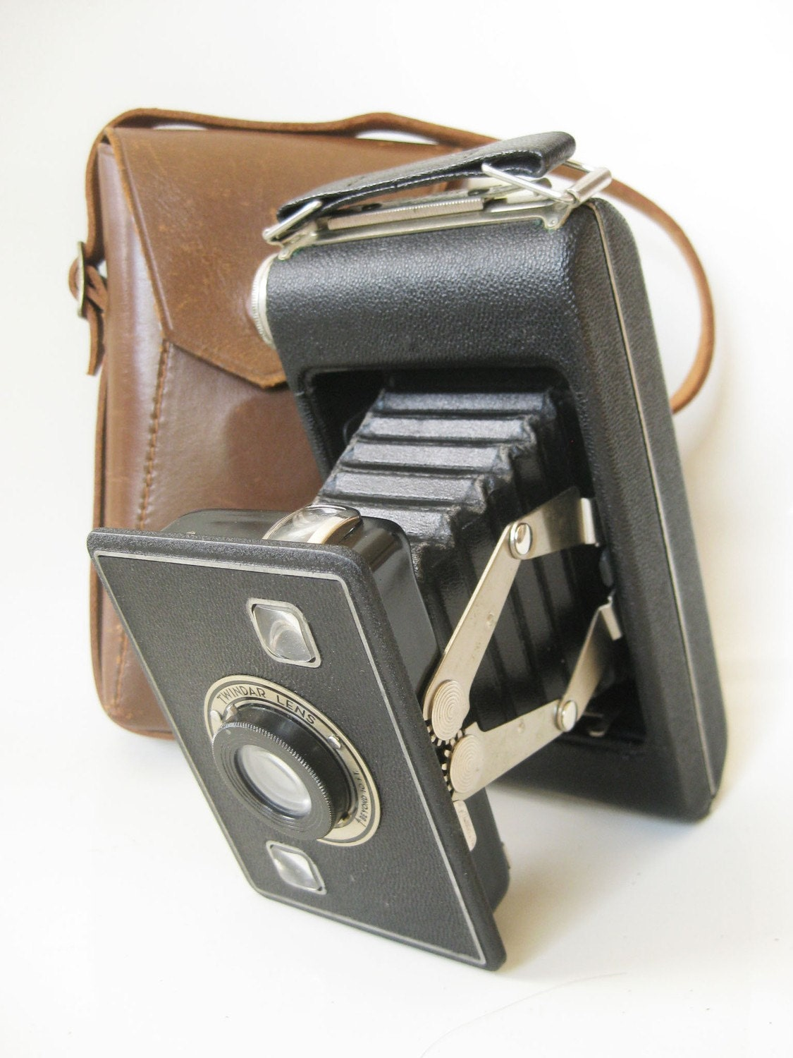 Vintage KODAK CAMERA 1950s Mad Men Indie 1940s Twindar Bellows Classic Leather Case
