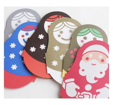 Russian Doll  paper card -matryoshka 6 Different Colors