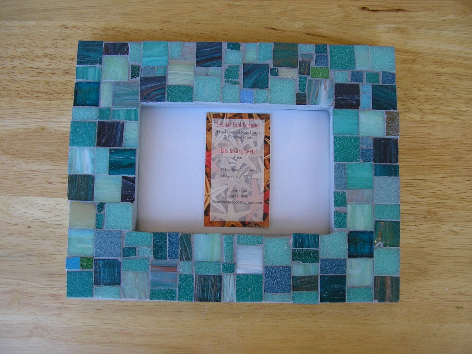 Teal Green Italian Tile Mosaic Picture Frame