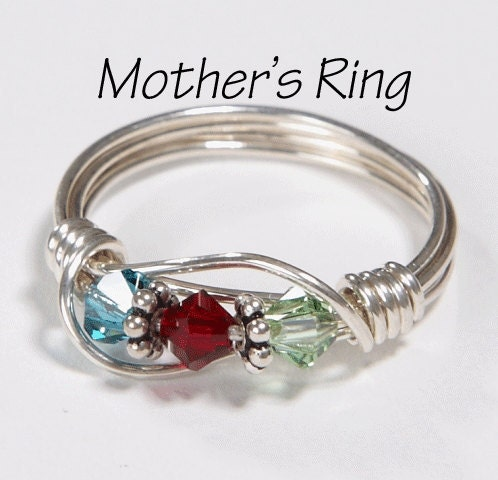Mother's Ring 3 Birthstones: Sterling Silver Mother's Family Ring with Three Swarovski Birthstone Crystals - SilveradoJewelry