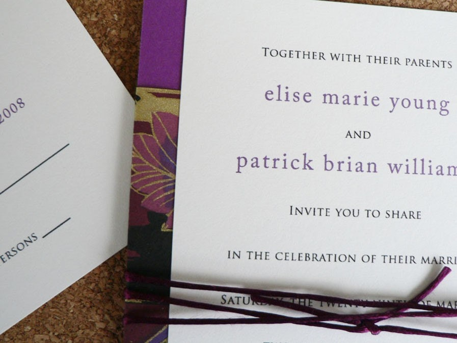 Wedding invitation set - Royal Butterflies purple and gold