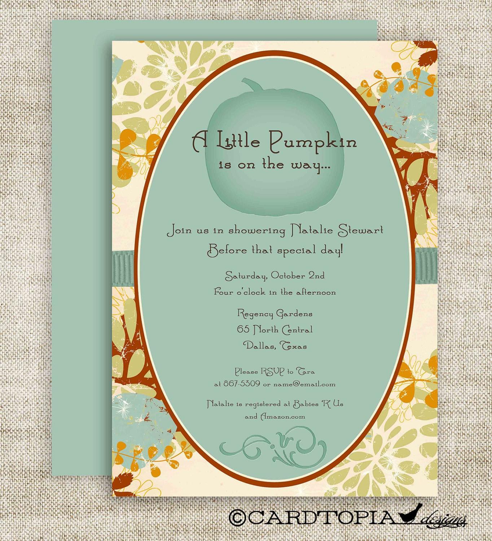 little pumpkin lil 39 punkin 39 baby shower invitations invite blue orang