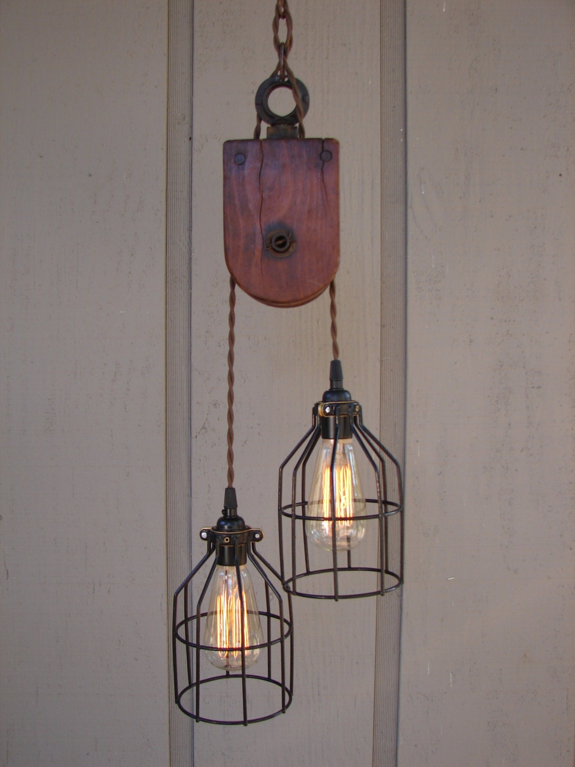 Industrial Wooden Pulley Pendant Light By BenclifDesigns On Etsy