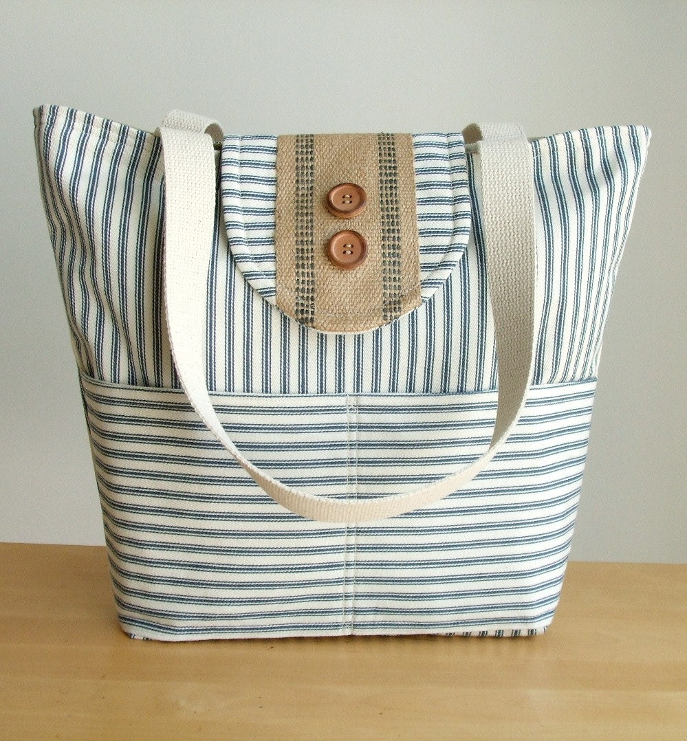 A Seaside Tote in Classic Ticking Stripe