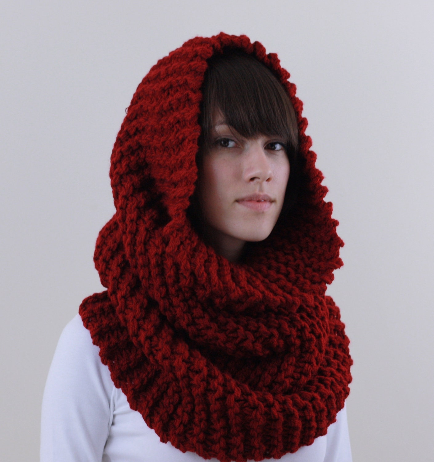 Knit Cowl Scarf Knit Oversized Chunky Red Cowl By Zukas On