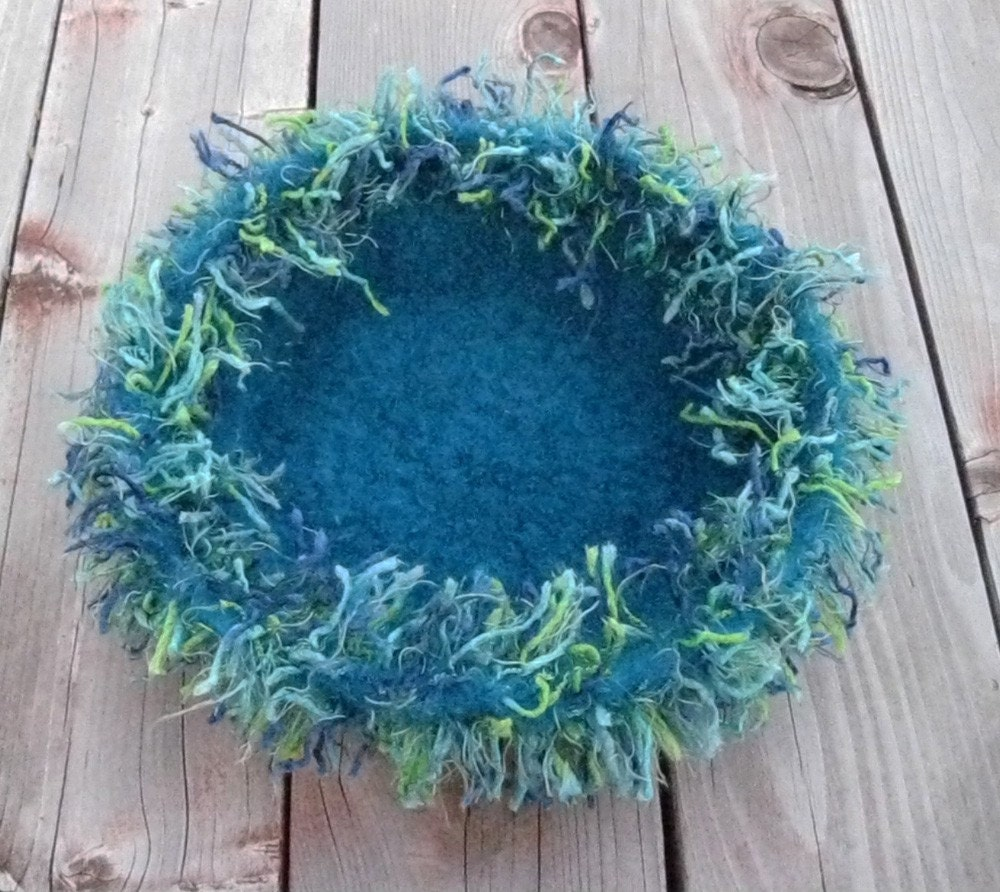 Fuzzy felted bowl, turquoise with trim, handmade, ships immediately