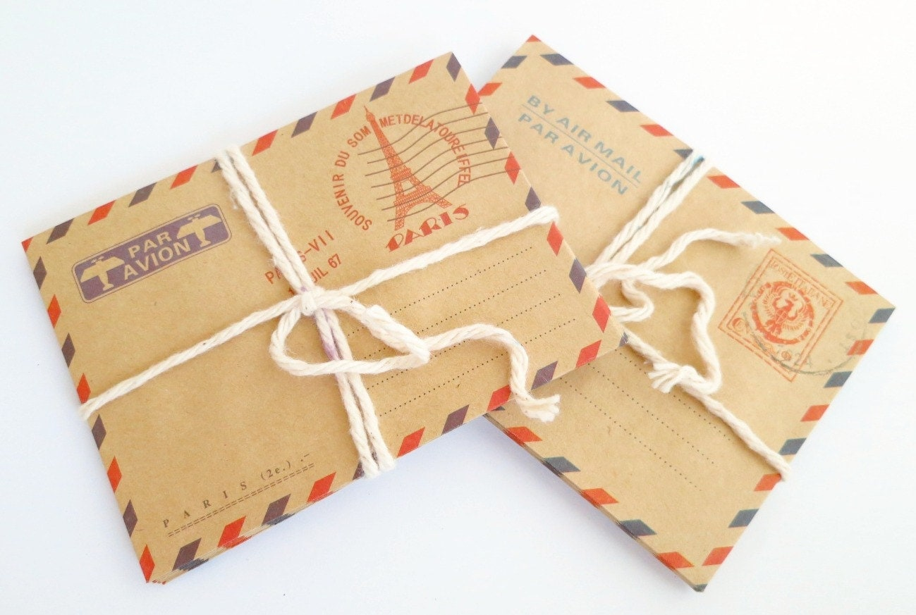 Mini Vintage Style Air Mail Envelopes : Set of 8 by TheSewingPost