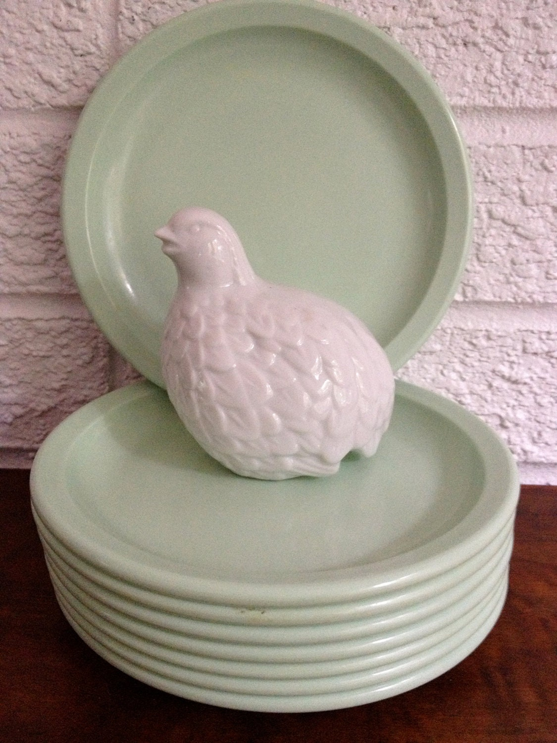 Set of 8 Vintage Mint Green Melamine Plates