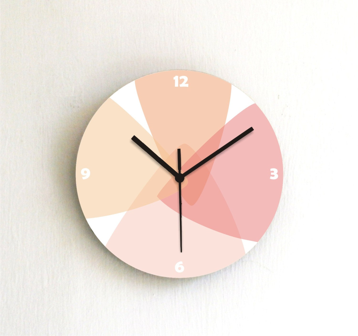 clock soft pastel orange peach red salmon beige kitchen wall clock