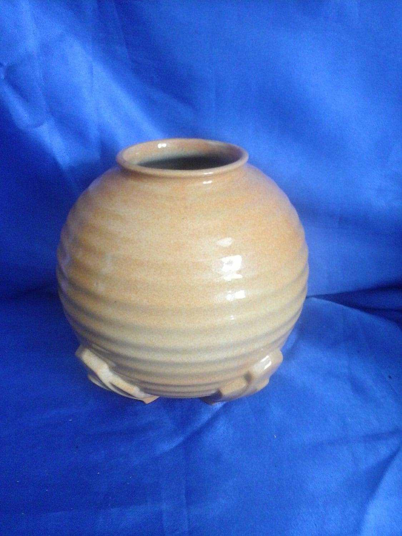 Art Deco 1930s Round Vase in Light Orange
