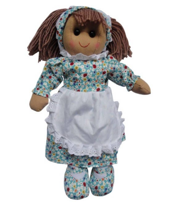 Personalised blue floral dress rag doll. Ideal gift for new baby, sister, flower girl, bridesmaid, christening, birthday, Christmas, uk