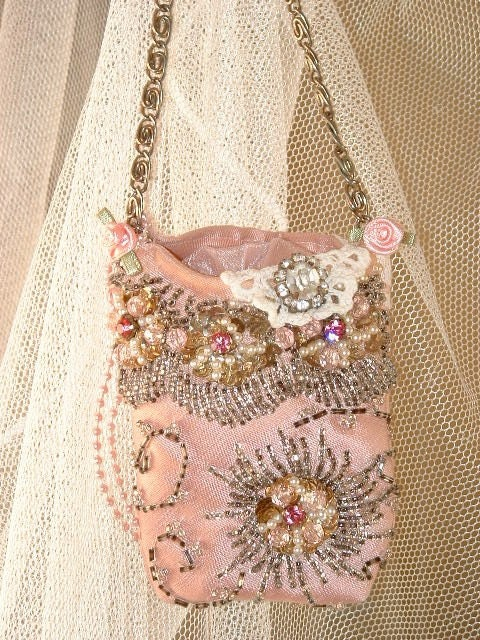 PINK Victorian Beaded Hanging LAVENDER SACHET