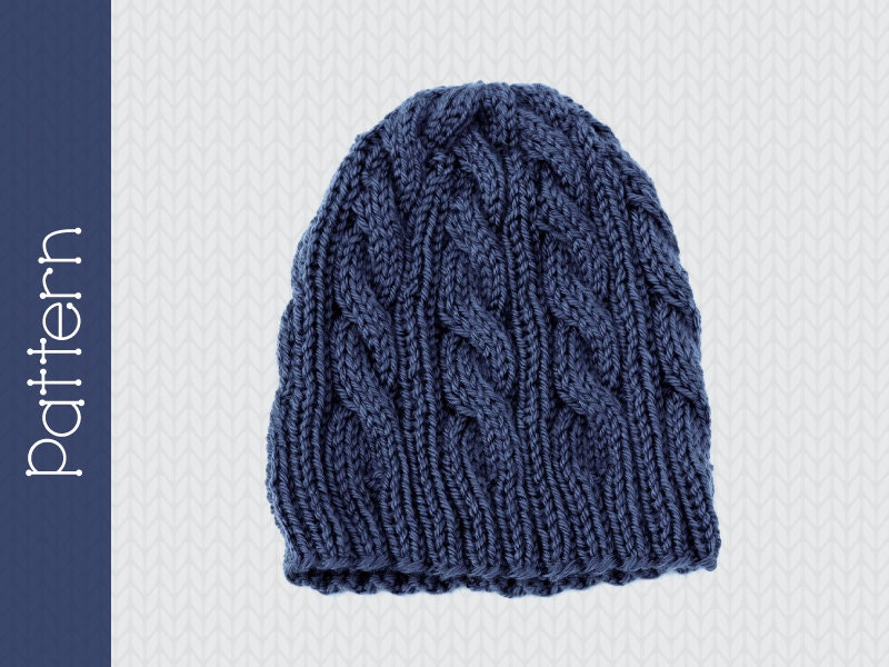 Knitting Pattern For Cable Beanie : Items similar to Instant Download KNIT PATTERN - Original ...