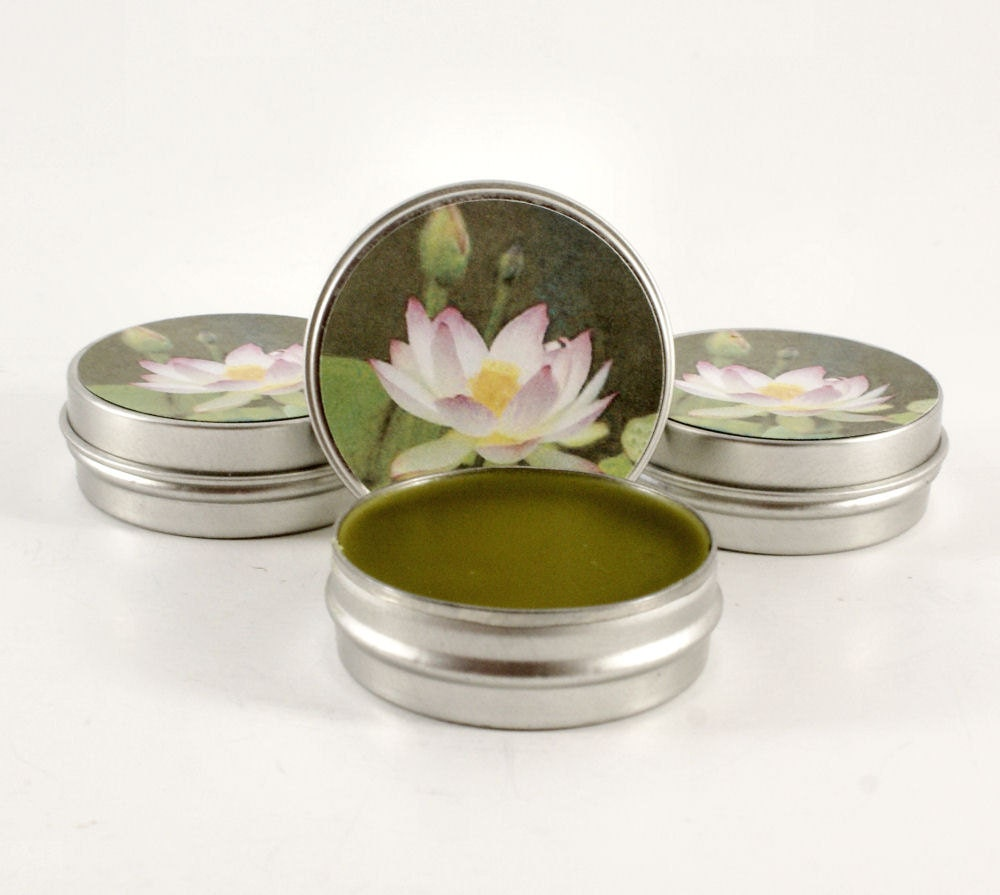 White Lotus Flower Organic All Natural Hemp Oil Solid Perfume Balm - KindredImages