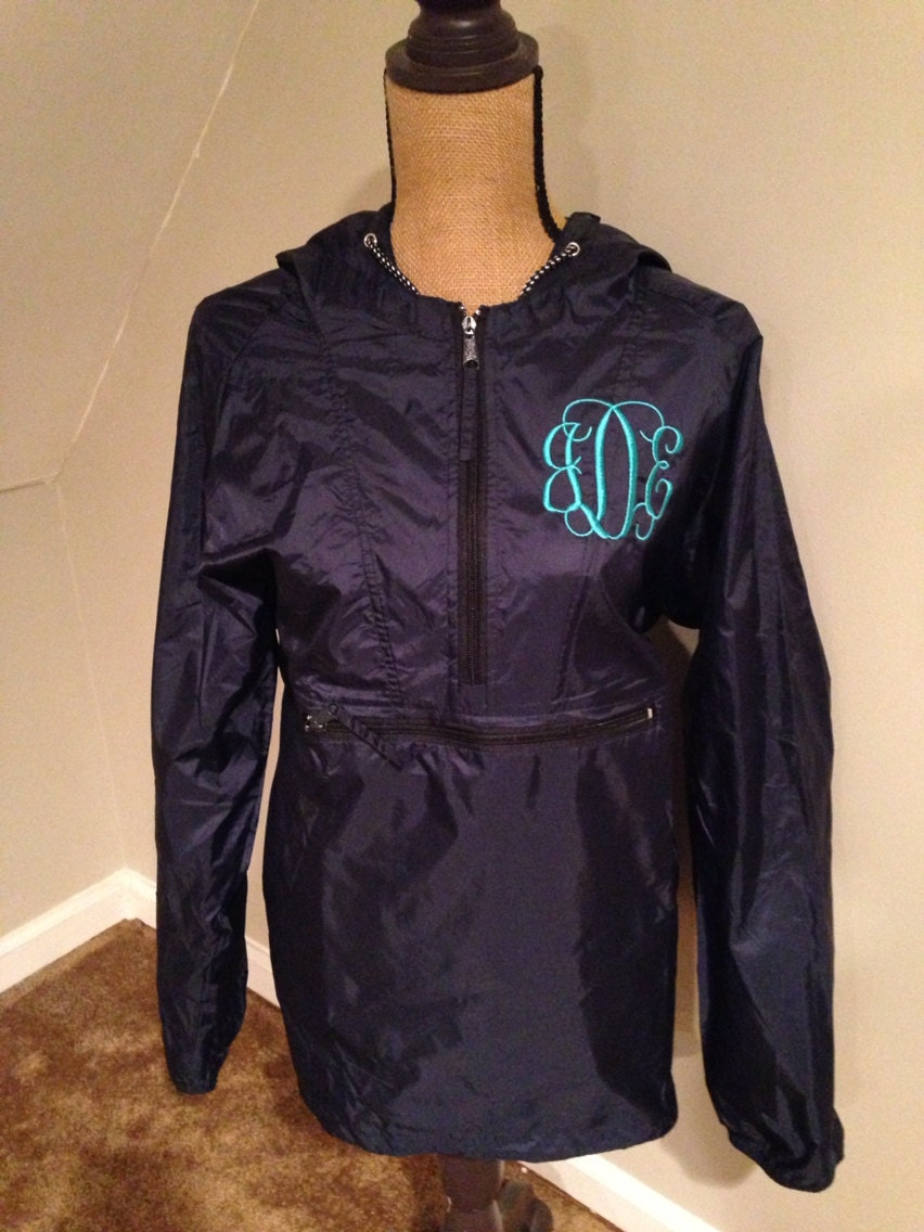 Monogrammed rain jacket pullover personalized by elsbriarpatch
