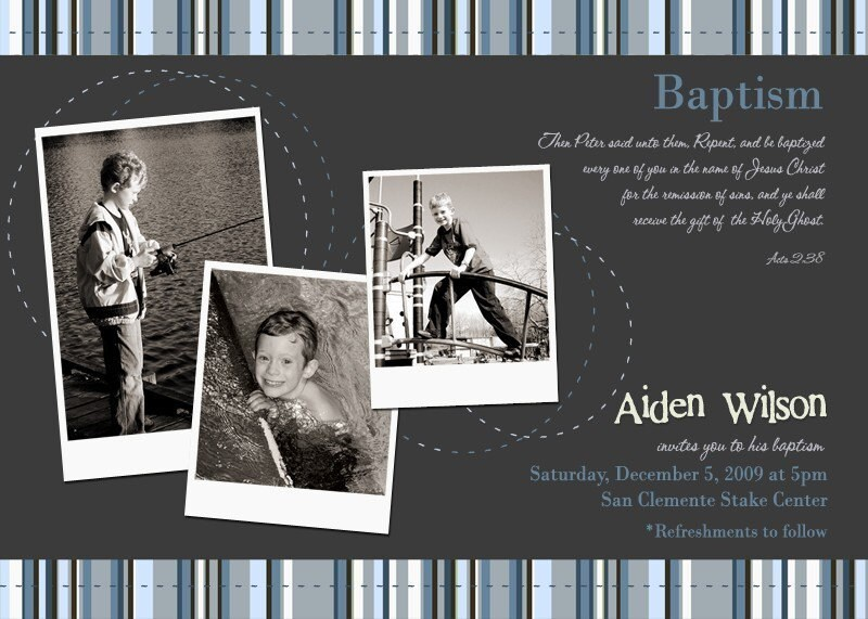 Stripes LDS Baptism Invitation Ambers Announcing You
