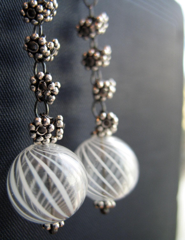 Swirl  -- long sterling glass earrings