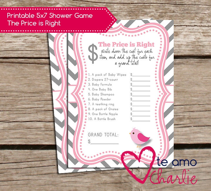 the price is right printable baby shower game instant download