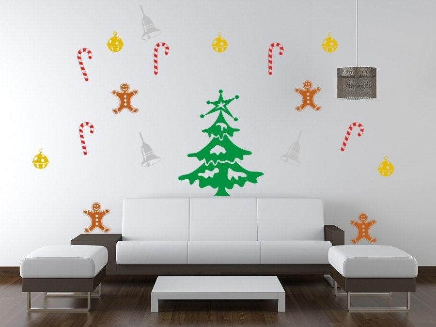 درخت کریسمس وابسته به زنگ ساقه مرد / / / چند بسته دیوار وینیل / / / 19 قطعات