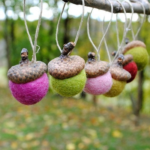 Wool Felted Acorn Ornaments - Set of 12 in Christmas Pinks and Greens