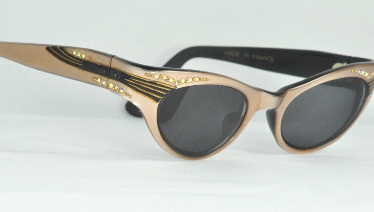Vintage Cat Eye Glasses, Soft Gold Color with AB Crystals and Sassy Striped Trim