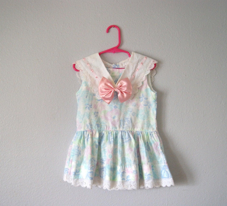 My Little Monet - Vintage Girls Watercolor Sailor Dress TODDLER 3 4