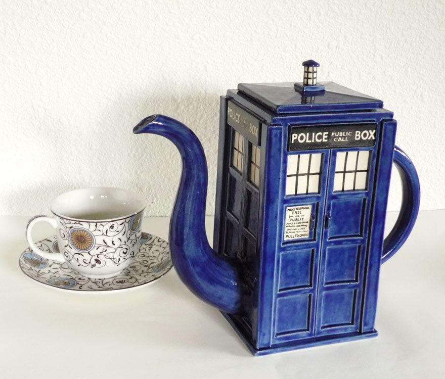 TARDIS Teapot: Made-To-Order Handmade Blue Police Box Teapot - jadeflower