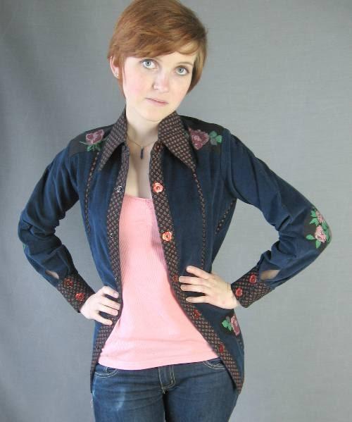 70s Pant Suit Vintage Jeans Corduroy Bells Shirt Jac Embellished Small - MagsRagsVintage