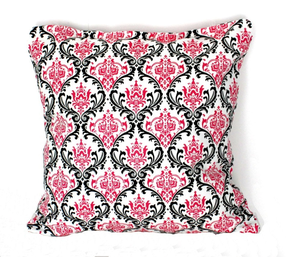 Grad Sale - 13% Off - DECORATIVE PILLOW Cover - THROW Pillows - 18 x 18 inches - Pink and Black Damask - ThePillowFight