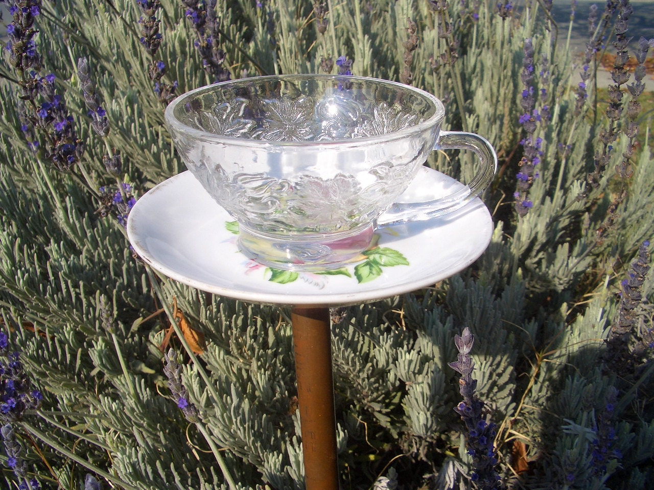 Items similar to bird feeder tea cup upcycled garden for Upcycled yard decor