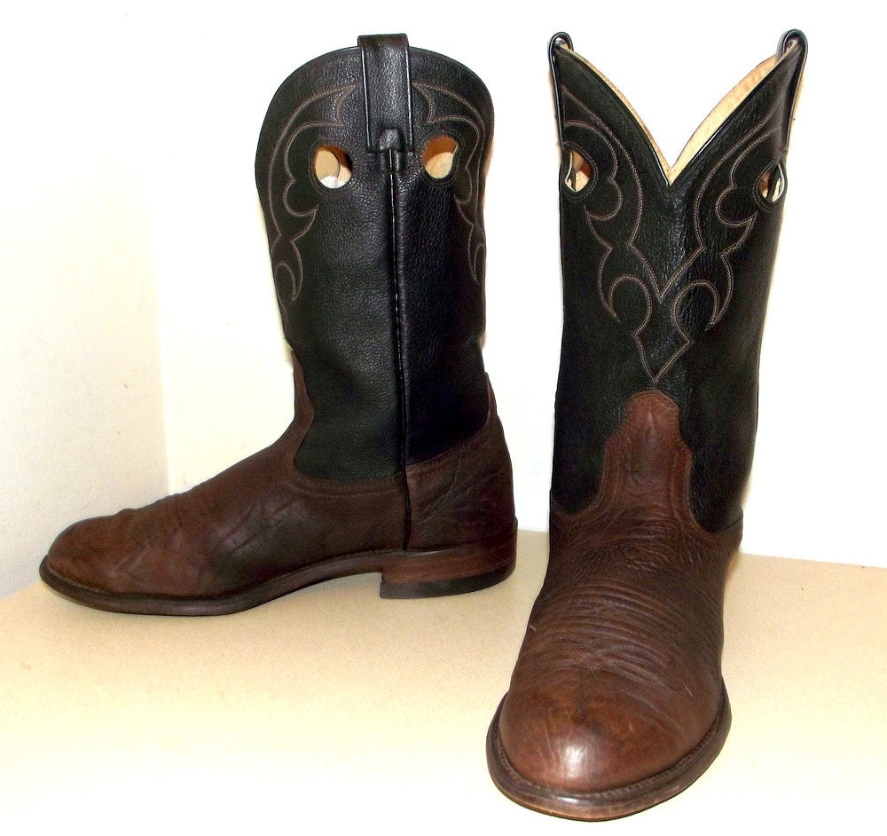 two tone black and brown roper style cowboy by