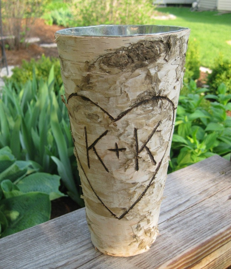 Personalized Birch Bark Vase for WEDDING CENTERPIECES or BOUQUET Home Decor Valentine - FloralAccents
