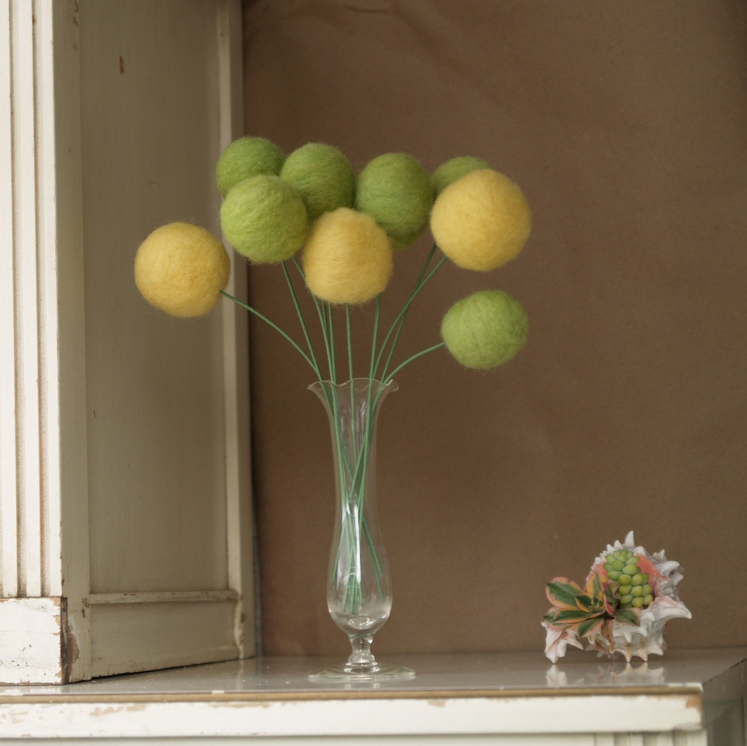 10 Large Yellow and Moss Craspedia Stems - Spring Wool Blossoms eco friendly and ever lasting nature