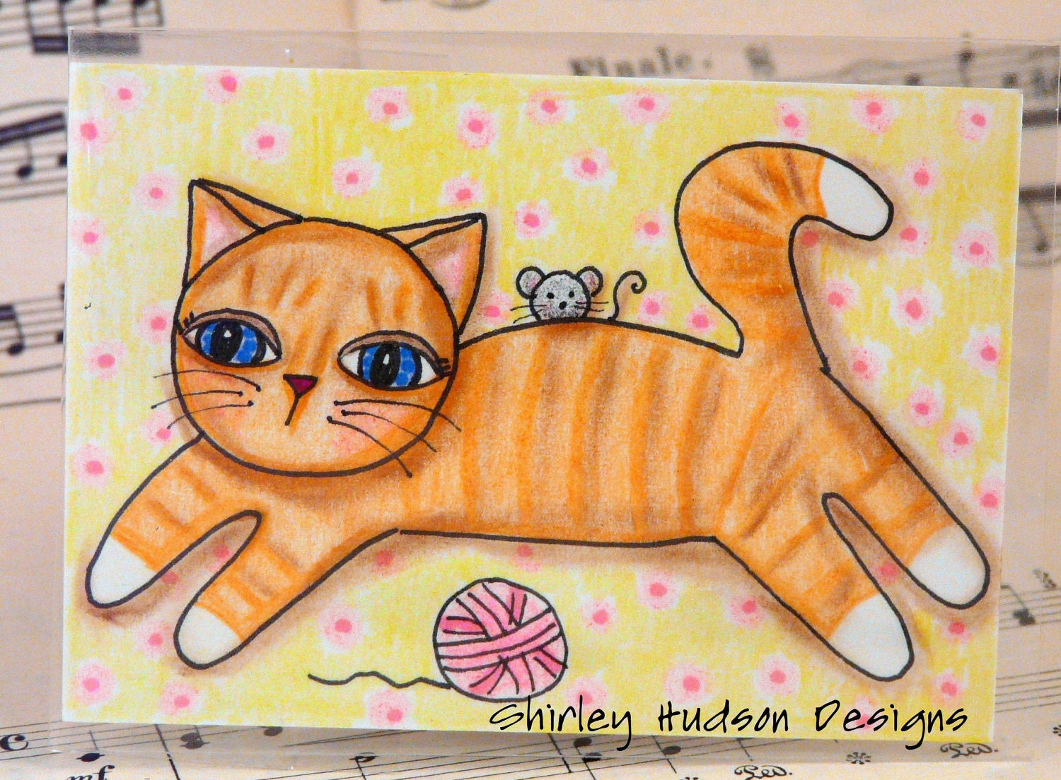 Orange Tabby cat mouse Original ATC card - ACEO yarn watercolor ink painting