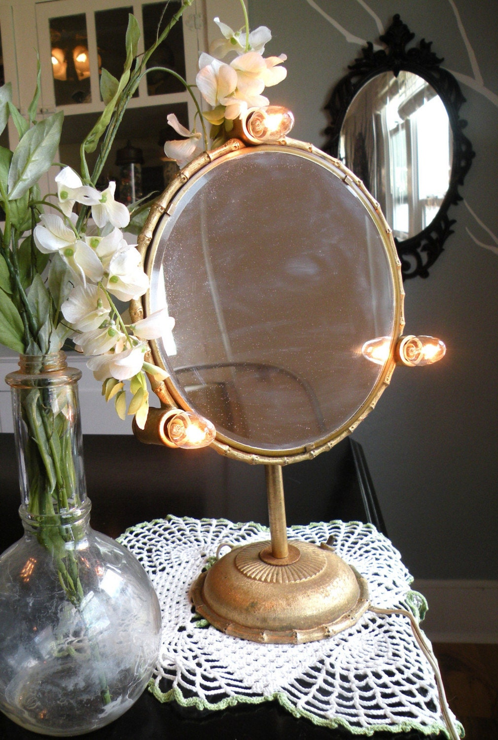 Old Hollywood Vanity Lights : Old Hollywood Glamour Lighted Vanity Mirror by RainOrShineVintage