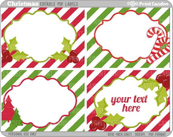 ... 8x10) Christmas Labels (No. 235) - Printable Labels / Cards Gift Tags
