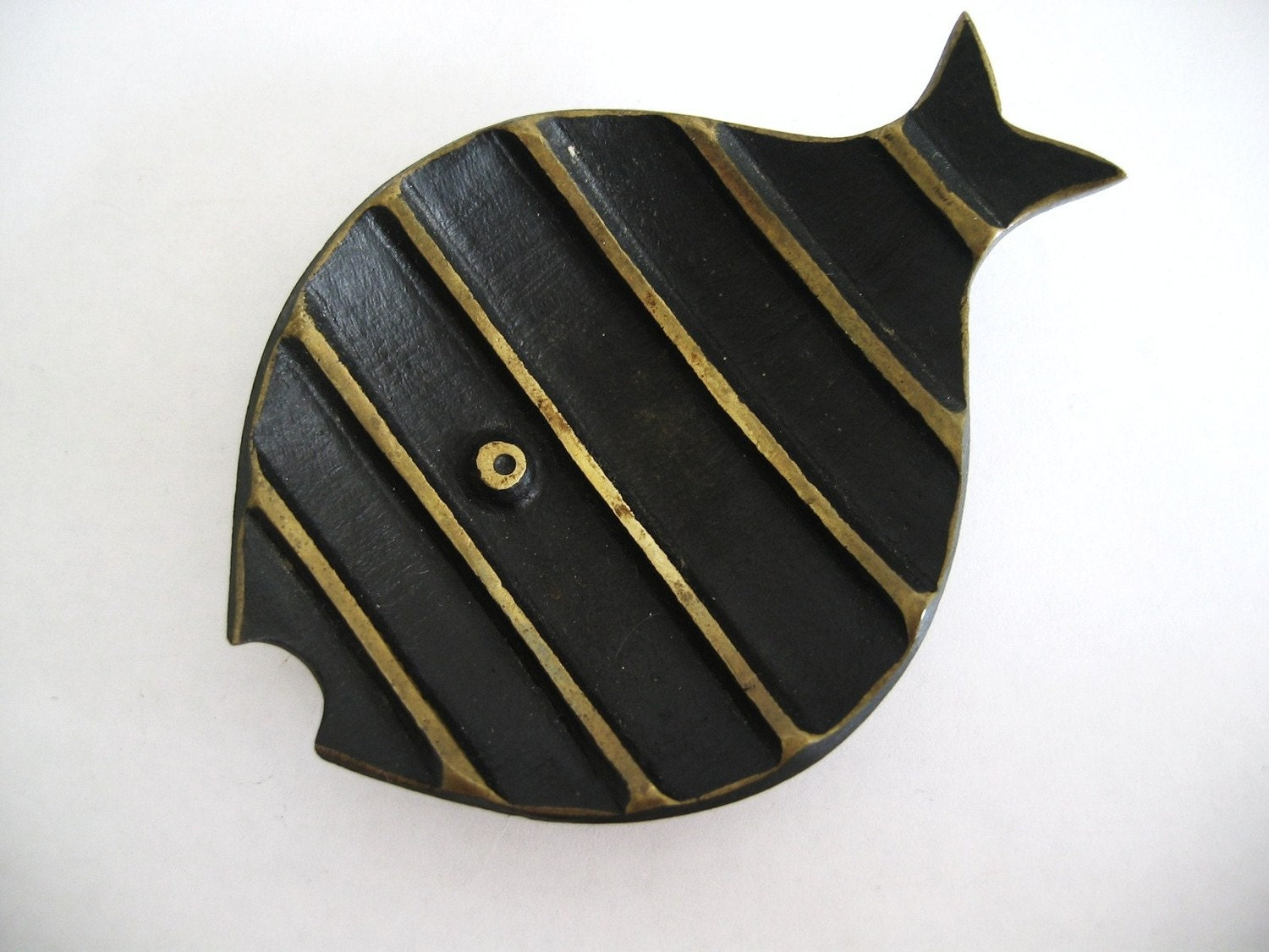 Vintage Modernist 50s Brass Walter Bosse Hagenauer Fish Ashtray Marked