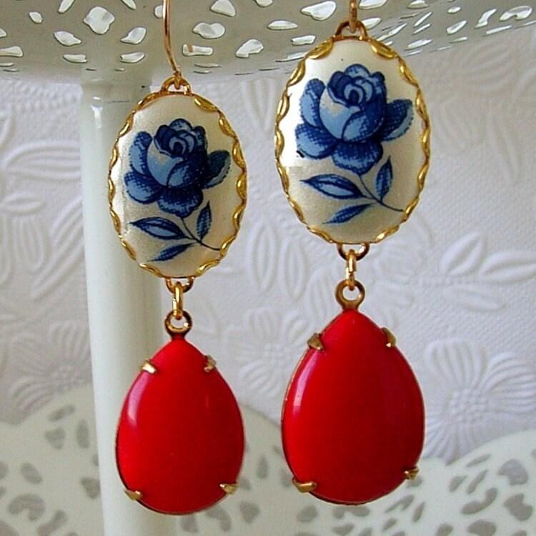 Vintage Blue Rose Ruby Red Pear Earrings