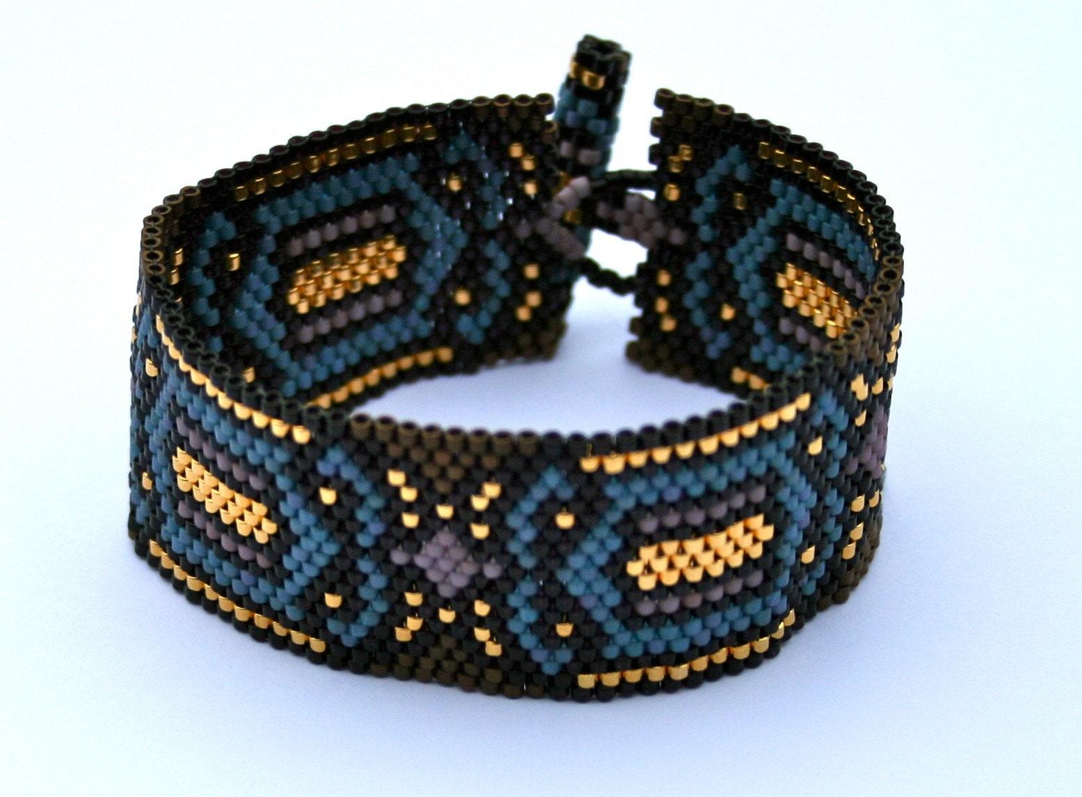 Gothic Windows Art Deco Beadwoven Cuff Bracelet